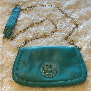 Tory Burch Teal Chain Link Crossbody Purse